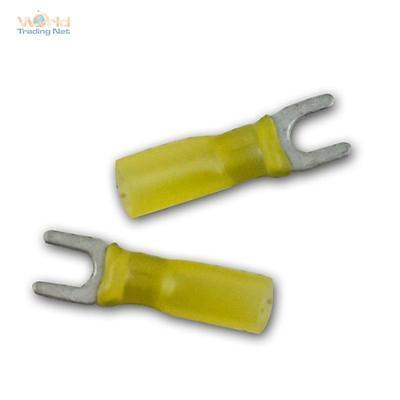 100 Schrumpf-Gabelkabelschuhe, M5 Gelb 4,0-6,0mm² Schrumpfschlauch + Innenkleber