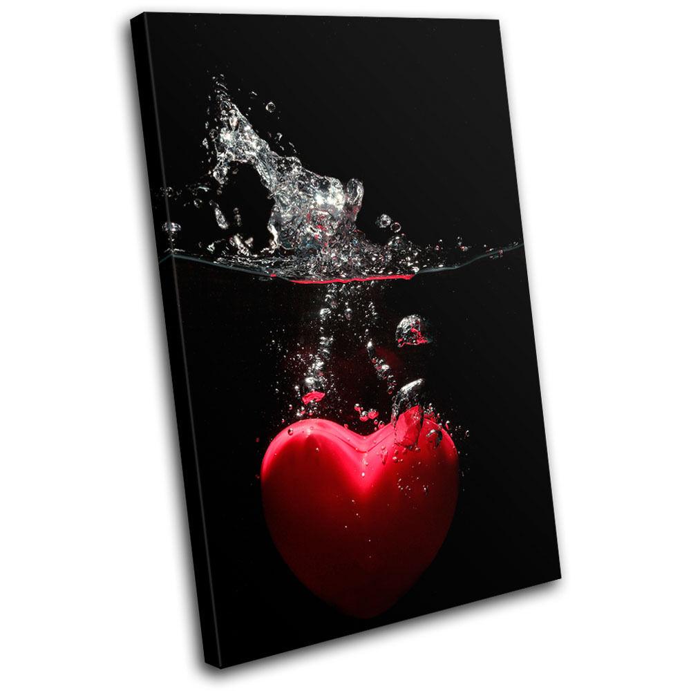 Heart Water Splash Love SINGLE TELA parete arte foto foto foto stampa fe9219