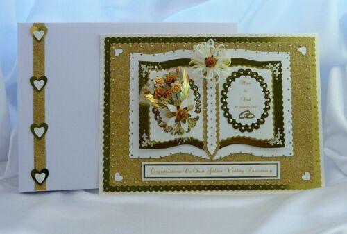 50th doré anniversaire de mariage carte boîte femme//mari//maman//papa personnalisé
