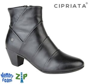 LADIES-Black-Leather-Heeled-Pleated-Zip-Fastening-Ankle-Boots-Size-3-4-5-6-7-8