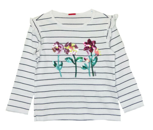 s.Oliver Mädchen Langarmshirt mit Blumen Motiv aus Pailletten in navy weiß