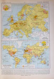 1913 Landkarte Europa Industrielle Coal Produktion Marine Händler Baumwolle Gum