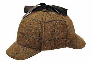 100-Lana-Campo-Tweed-Sherlock-Holmes-Gorro-de-cazador-caza-Oreja-solapas