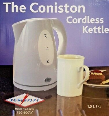 CARAVAN CONISTON CORDLESS WHITE SMALL COMPACT KETTLE 1.5 LITRE LOW WATTAGE