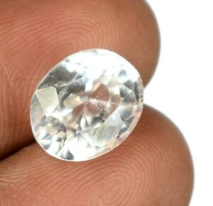7.50 Ct Oval Cut White Sapphire Gemstone 11 x 9 mm Natural AGI Certified A52195