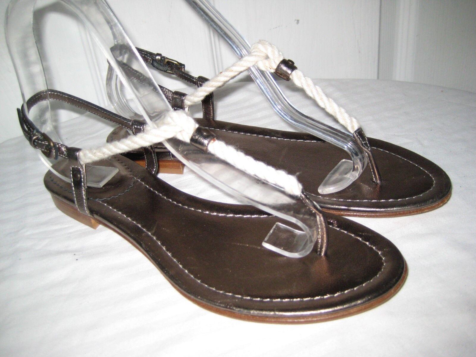 J. Crew Genuino Cuero Correa T sandalias zapatos para mujeres tamaño 7 Hecho en Italia.