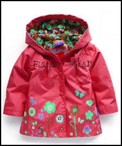 6yrs Filles Rouge Manteau de Pluie Mac printemps eté veste capuche coupe-vent fleurs 18m