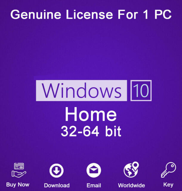 Windows 10 Home 32/64 Bit Product Key Activation For 1 PC ...