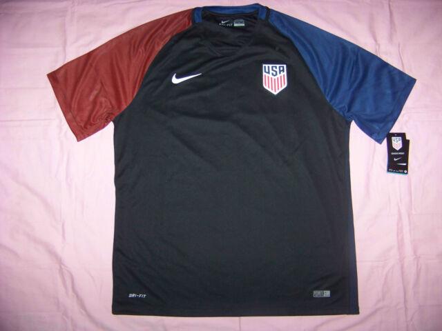 f9f5bc56 Men's Nike USA Away Soccer Jersey 2016 Black Blue Red Size XL 724641 ...