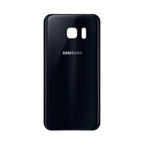 Vitre Arriere Samsung Galaxy S 7 Edge - Noir - Adhesif Inclus