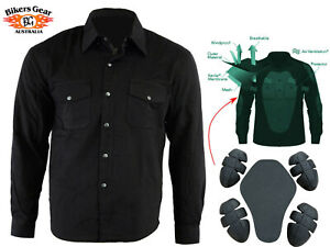 Australian-Bikers-Gear-CE-armour-Motorcycle-Flannel-Shirt-lined-with-Kevlar-BLK