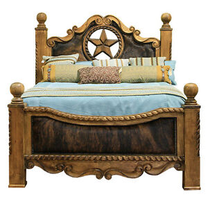 Cowhide-Bed-with-Star-King-Queen-Western-Rustic-Cabin-Lodge-Real-Solid-Wood