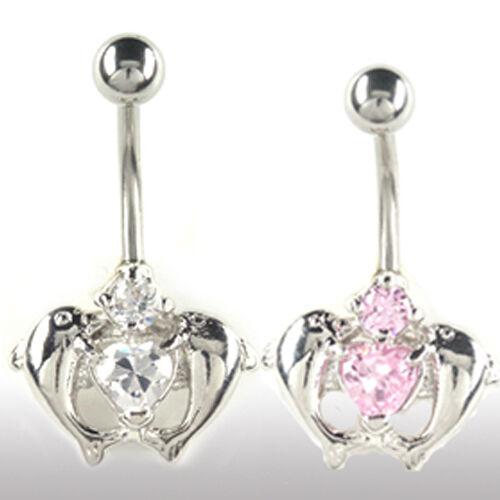 Ombligo piercing joyas 2 delfines con cristales 2