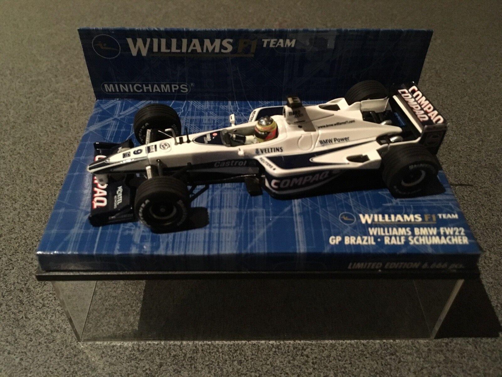 MINICHAMPS WILLIAMS F1 BMW FW22 RALF SCHUMACHER 2000 BRAZIL GP LTD ED 6666