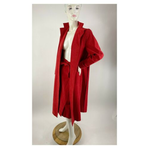1980s Pauline Trigere red suede wrap coat and Abe… - image 1