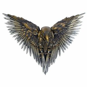 Blade-Raven-Steampunk-Art-Wall-Hanging-27cm-Gothic-Ornament-Sword-Wing-Figurine