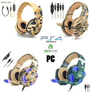 Camo-Gaming-Headset-PS4-Xbox-One-PC-Headphone-3-5mm-Stereo-Sound-Earphone-w-Mic