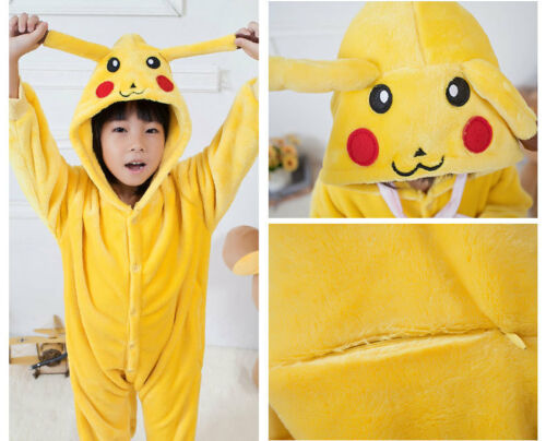 Kids Jumpsuit Pajama Pokemon Warm Suit Pikachu Costume Flannel Cosplay Adult