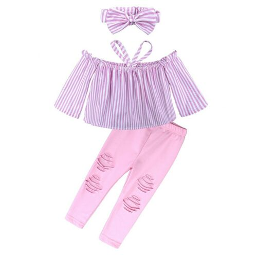 3PCS Children Kids Girls Off Shoulder Shred Tops+Ripped Pant+Headband Set Outfit