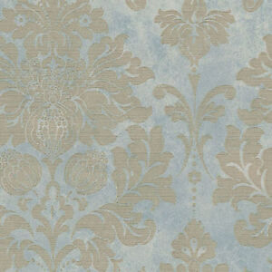 Image Is Loading Gold And Gray Blue Damask Wallpaper MD29418 Double