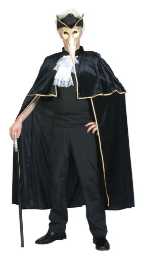 Mens Ladies Black Venetian Cape Carnival Halloween Velvet Fancy Dress Costume
