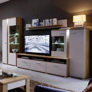Wohnwand Spurt 2 Wohnzimmer Anbauwand In Champagner Weiss Und Eiche