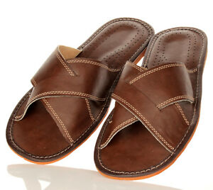 Herren Hausschuhe Leder Pantoletten Pantoffeln Braun Größe 41 42 43 44 45 46 | eBay