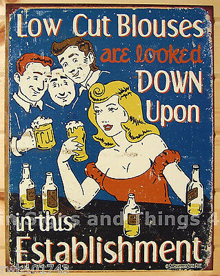 Low Cut Blouses looked down upon FUNNY TIN SIGN beer bar metal wall decor 1500