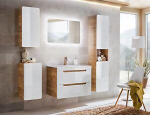 Details zu Badmöbel Set 5-tlg Badezimmerset FERMO Weiss HGL inkl.Waschtisch  80cm