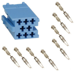Auto Radio Mini ISO Stecker Leergehäuse 8 Polig Blau + Micro Timer Kontakte