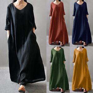 cf8379cbf5 Zanzea Women V-neck Long Sleeve Loose Baggy Long Maxi Dress Kaftan ...