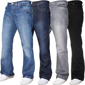 Mens-APT-Basic-Plain-Jeans-Flared-Bootcut-Fit-Denim-Wide-Leg-Pants-Flap-Pockets
