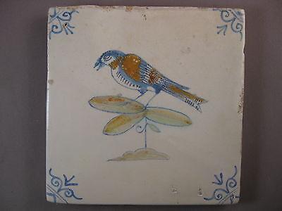 Antiques Free Shipping Complete Range Of Articles Ceramics & Porcelain Antique Polychrome Dutch Tile Bird Rare 17th Century