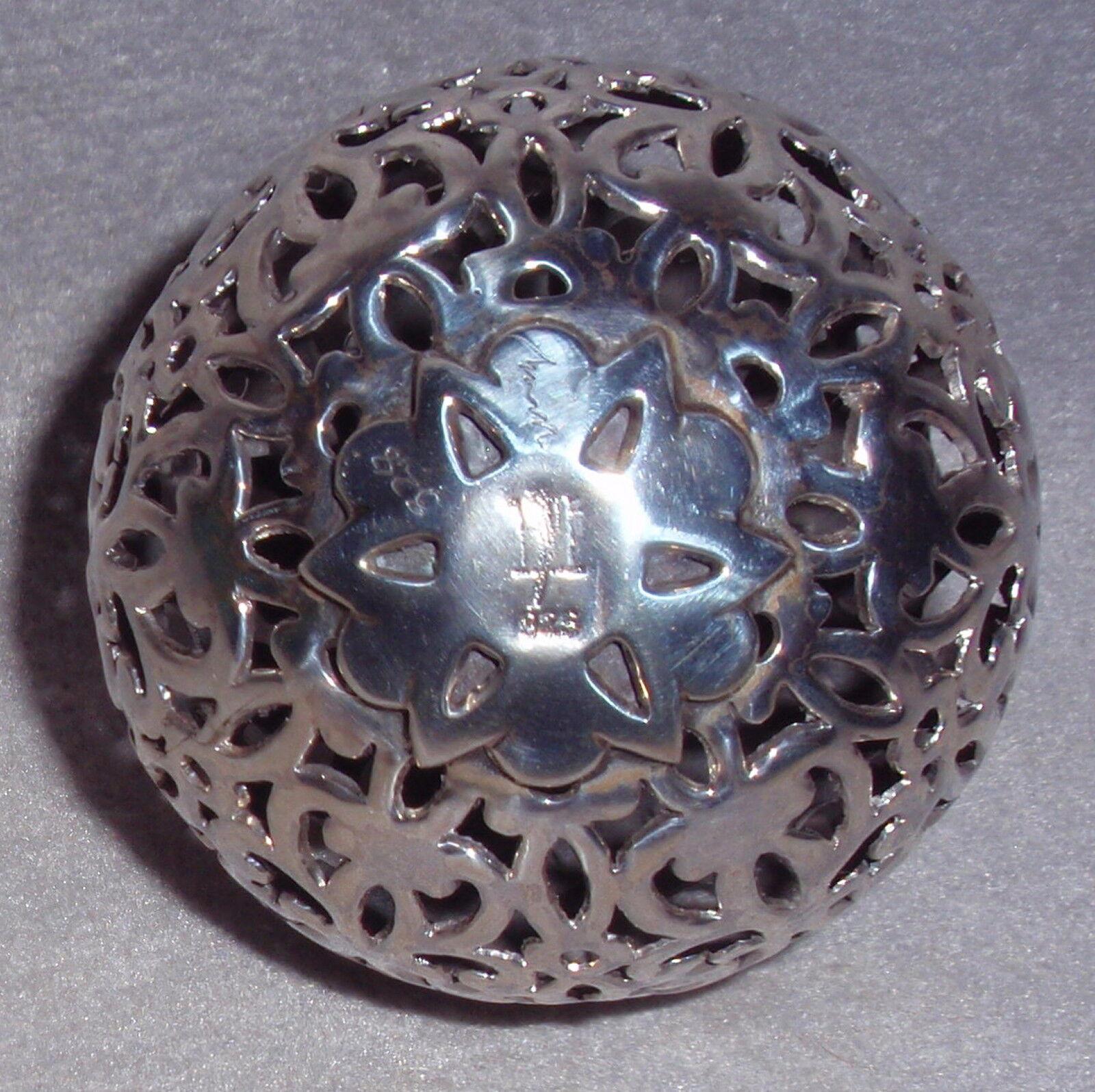 Neiman Marcus John Hardy Designer 3D Sterling Filigree Ball Christmas Ornament