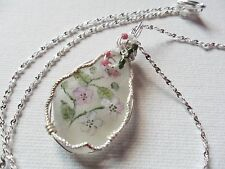 """Bramble blossom wildflower necklace painted english sea glass 18"""" silver chain"""