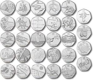 London-Olympic-2012-50p-Coins-Triathlon-Football-Judo-Wrestling-FREE-POSTAGE