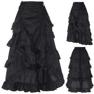 Vintage-Gothic-Victorian-Ruffle-Bustle-Skirt-Lady-Steam-Punk-Retro-Gothic-Dress