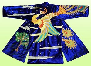 "MAGNIFICENT UZBEK SILK EMBROIDERED ROBE CHAPAN ""MYTHICAL BIRD"" A1698"