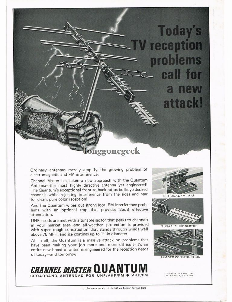 1973 Channel Master Quantum Outdoor TV Antenna Television Vintage Ad . Available Now for 9.95