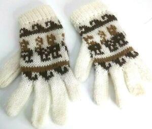 High Quality  Alpaca  Wool Gloves Mitten Fingerless PERUVIAN  black//white// L//XL
