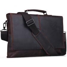 Vintage Leather Laptop Briefcase Cross Body Shoulder Bag For Men Brown Attache