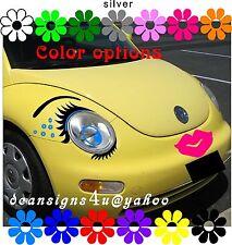 car FACE Eyelashes BLUE Eyes Hot Pink Lips liner & Flowers VW bug beetle Gift