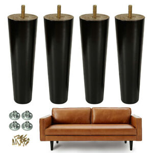 Details about Wood Furniture Legs Couch Legs 8 inch Set of 4 Mid-century  Black Replacement
