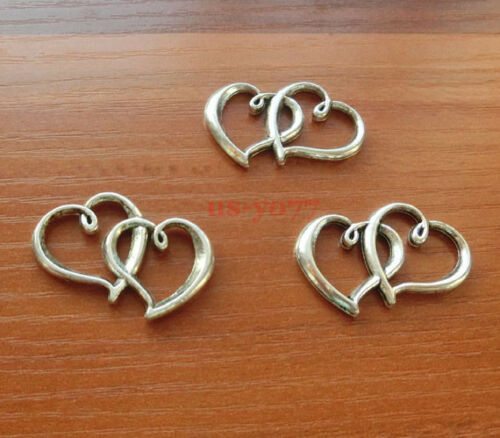 15 Double Heart Charms Connectors Link Antique Silver Tone 2 Sided 32x29 0304