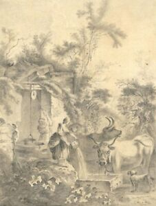 Cattle and Dog at Village Well – Original early 19th-century graphite drawing