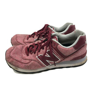 New-Balance-574-Running-Shoes-Mens-US-9-5M-Red-Suede-Lace-Up-ML574TXG-Athletic