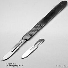 Lame Bisturi Nr 3, 10 blade Nr. 10C  14 cm Dentale Scalpel Handle Natra Germany