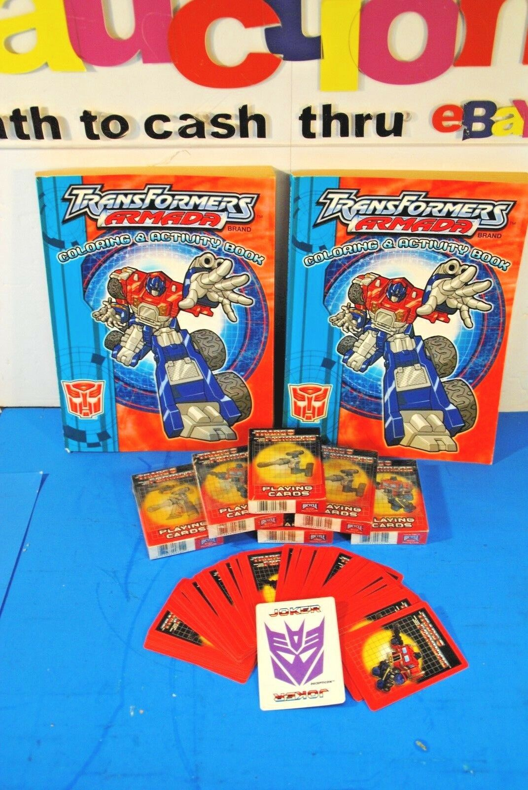 (10) LOT OF NEW Transformers Collectables-Playing Cards, Farbeing Books, etc.
