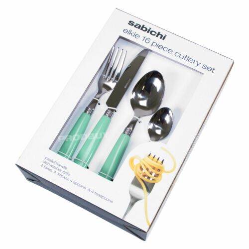 16 Piece Stainless Steel Cutlery Set Duck Egg Blue Handles Dining Table NEW