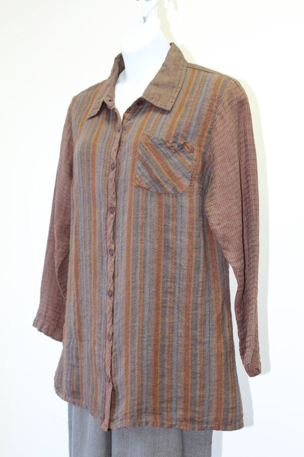 Flax Designs Bias Back Shirt Combo   NWT  Artsy Linen 1X   1G